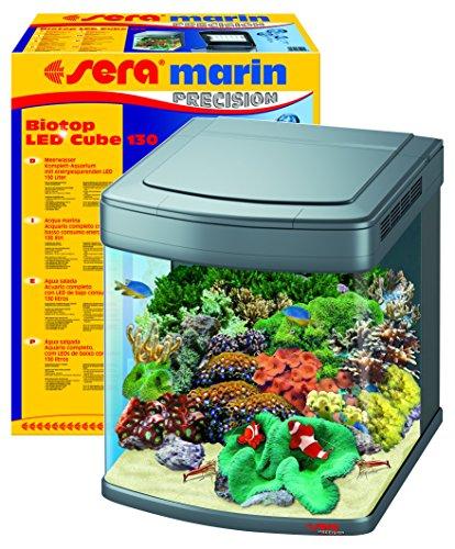 sera 31099 marin Biotop LED Cube 130 ein 130 l Meerwasser-Komplettaquarium mit LED Beleuchtung und...