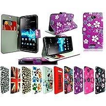 Nueva–Funda de piel con tapa tipo libro funda de teléfono móvil para Sony Xperia E4+ Protector de pantalla