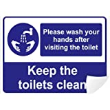Clickforsign PLEA-WAS-HAND-VISIT-TOI-VINYL-64(8X6) Please Wash Your Hands After Visiting The Toilet Sign Self Adhesive Vinyl