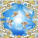 Foto Murale 3D Stile europeo Cielo azzurro e nuvole bianche Angelo Carta da parati 3D Grande soffitto murale Affresco Kid's Room Soggiorno soffitto carta da parati
