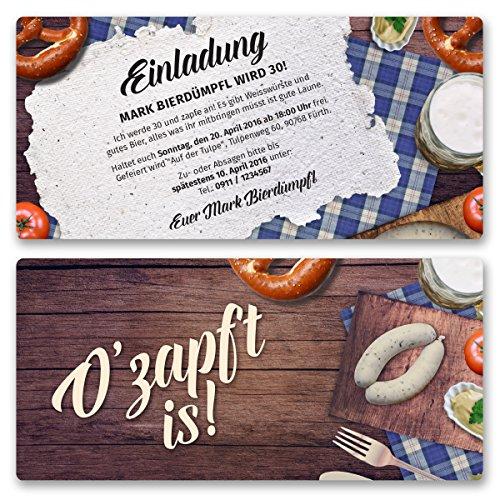 (60 x) Einladungskarten Geburtstag Oktoberfest Hüttengaudi Wiesn Einladungen