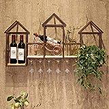 Massiv Holzwand Hängendes Weinregal-110 * 60 * 20Cm-Schmiedeeiserne Wand Hängendes Restaurant Weinschrank Dekoration Wein-Glashalter