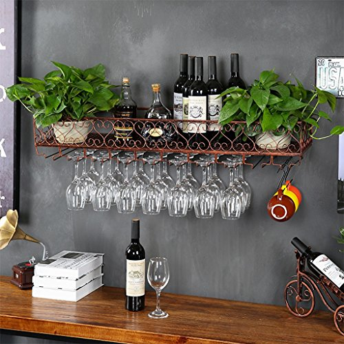 Europäische Weinglas-Halter-hängenden Becher-Halter Kreativer Weinglas-Halter S-förmige Wand-hängendes Wein-Gestell-Eisen-Gestell Wand-montiertes Wein-Gestell ( Farbe : Messing , größe : 60x25cm ) -