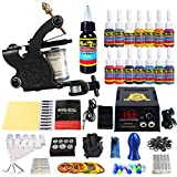 Solong Tattoo® Profi Komplett Tattoomaschine Set 1 Tattoo Maschine Guns 14 Farben/Inks Tinte Nadel Tattoo maschine Set Kit TK102