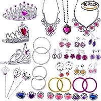 WATINC 46Pack Princess Pretend Jewelry Toy,Girl