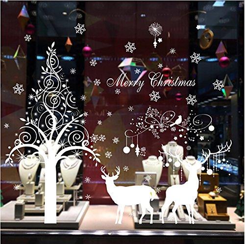CUGBO Wandaufkleber, Rentier-Schneeflocke, Weihnachtsbaum, Heimdekoration, für Brillen, Geschäfte, Fenster weiß