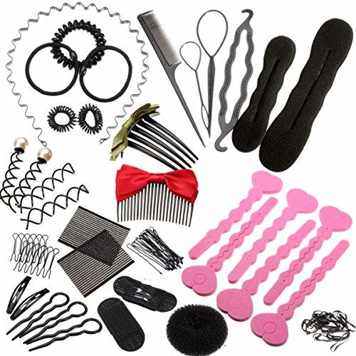 Luckyfine Accesorios de Peinado, Kit Completo y Variado para Peinados, Accesorios de Maniqui Peluquería 19 pcs