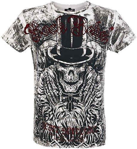 Rock Rebel by EMP Top-Hat Skull Vintage T-Shirt bianco/nero L
