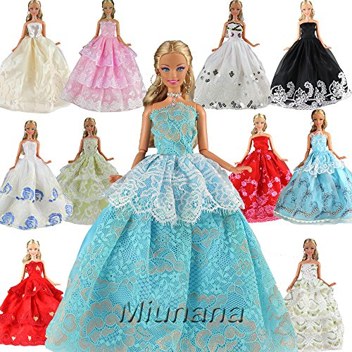 Fashionista Prinzessin Puppen Barbie (Miunana 5 Hochzeit Fashionistas Prinzessinnen Kleidung Kleider Puppenkleid für Barbie Puppen)