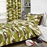 Armee Camouflage Einzelbettwendewäsche und Vorhänge (168cm x 137cm) Set