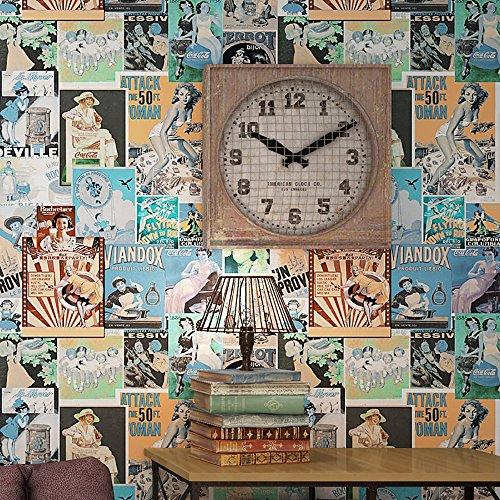3D Wallpaper American Retro Vintage Mädchen Wallpaper Loft Industrial Style Beauty Poster Kaufen Sie drei Get One Free ( Style : 59402 )