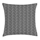 Black And White Throw Pillow Cushion Cover by, Little Spring Blossoms And Swirled Leaves Botanical Retro Pattern, Decorative Square Accent Pillow Case, 18 X 18 Inches, Black And White