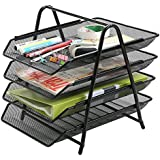 KABEER ART 4 Tier Mesh Metal Office Desktop File and Document Organizer, Magazine Holder Rack, 12.75x13.25x14-inch