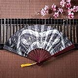 EIJODNL Grande Fan di bambù crudele e feroce Gorilla con Cornice di bambù Nappa Pendente e Borsa di Stoffa Antico Ventilatore Giapponese ventagli economici a Mano Cinese Kung Fu Fan