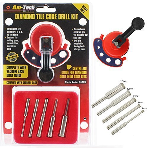 Am-Tech Diamond Core Tile Drill Bit Kit & Vacuum Base Guide by Amtech (Bit Drill Diamond)