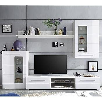 Stella Trading Wohnwand Enrique 89 181 13, Holzdekor, Korpus: Weiß, Front: Weiß  Hochglanz, 240 X 190 X 42 Cm