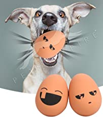 Pets Empire Egg Shaped Rubber Bouncing Balls Chewing Playing Toy for Pet Puppy Dogs Random Emoji 2 Piece (Pack of 2)
