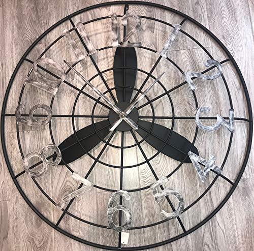 Home Decor Studio Wanduhr, Metall, 100 cm, Propeller-Design, silberfarben/Schwarz
