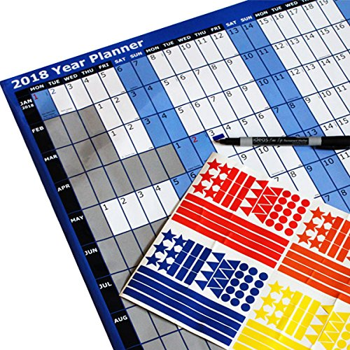 2018 A1 Laminated Yearly Wall Planner Calendar With Wipe Dry Pen & smiley Sticker Dots