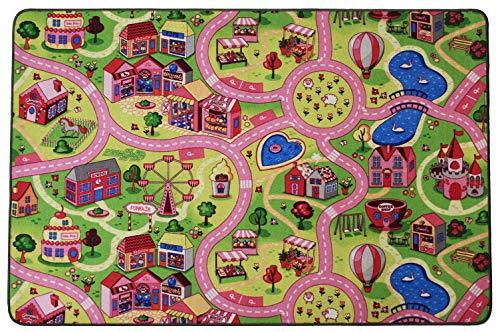 Primaflor - Ideen in Textil Kinderteppich Sweet City - 140cm x 200cm, Schadstoffgeprüft, Anti-Schmutz-Schicht, Auto-Spielteppich für Mädchen, Fußbodenheizung geeignet