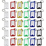 LJY 30 Pieces Multi-colors Plastic Key Fob ID Tags Luggage ID Labels with Split Ring Keyrin