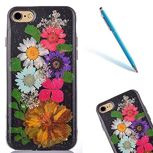 Cassa in Molle Rubber per Apple iPhone 6/6s 4.7(NON iPhone 6Plus/6sPlus 5.5), CLTPY Black Handmade Naturale Flower Essiccate Fiore Case Protettiva Ultra Sottile Morbido e Flessibile in TPU Silicone  Fiore 5