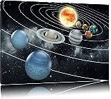 Sonnensystem mit unseren Planeten Format: 100x70 auf Leinwand, XXL riesige Bilder fertig gerahmt mit Keilrahmen, Kunstdruck auf Wandbild mit Rahmen, günstiger als Gemälde oder Ölbild, kein Poster oder Plakat