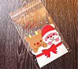 Emorias 100 Pcs Navidad Decoración Caja de Regalo Papá Noel Bear Adhesivo Lindo Papel de Caramelo Galletas Bolsa de Celofán