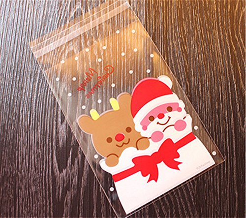 Ruikey 100 Stück Transparente Weihnachtstasche(Enthält keine Gegenstände) Weihnachtsplätzchen taschen West Point geschenk taschen dessert taschen backbeutel süßigkeiten taschen ziplock taschen