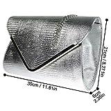 Wocharm Ladies Croc Black White Navy Blue Gold Grey Red Ivory Envelope Clutch Bag Womens Evening Party Handbag (Silver)