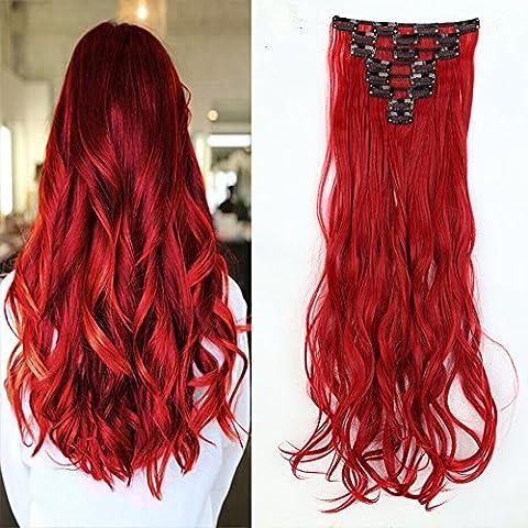 S-NOILITE® 61cm gewellt Dick voller Kopf Clip in Hair Extensions Fashion Dark Rot