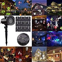 GESIMEI Projecteur Noël LED 12 Motifs Lampe de Projection Neige Étanche Éclairage de Scène Jardin Lumiere Décoration Noël Exterieur (C)