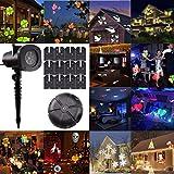 GESIMEI Weihnachtsdeko LED Projektor Licht mit 12 Wechselbaren Musters Weihnachtsbeleuchtung außen Bühnenbeleuchtung Lichteffekt Nachtlicht Strahler für Hochzeit Garten Haus (C)