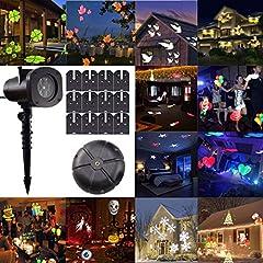 Idea Regalo - GESIMEI Proiettore Luci Natale Esterno 12 Lenti Intercambiabili Proiezione Lampada Led Impermeabile Illuminazione Giardino Faretti per Albero Casa Parete Decorazioni(C)