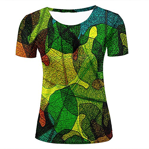 Womens Casual Design 3D Printed Glass Abstraction Leaves Stained Graphic Short Sleeve Couple T-Shirts Top Tee XXL (Ringer Design T-shirt Junior)