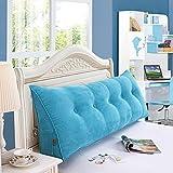 LIXIONG Kopfteil Kissen Nacht weichen Paket Sofa Kissen Taille Pad Einzelne oder doppelte Leinwand Großen Rücken, 5 Farben, 8 Größen (Farbe : Meeresblau, größe : 100x50X20cm)