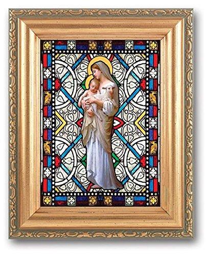 Bertof Our Lady of Divine Unschuld Strukturierte Italienisches Art Glass in detaillierter Antik Gold Rahmen 4x 6Bild 5x 7Rahmen (Gold-antiken Rahmen 5x7)