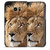 DeinDesign Samsung Galaxy S7 Edge Leder Flip Case Tasche Hülle Lion King Lion Raubkatze