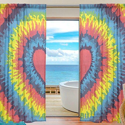 Sheer Voile Fenster Vorhang Colorful Tie Dye Gedruckt Polyester Material Stoff für Schlafzimmer Decor Home Tür Deko Küche Wohnzimmer 2Felder 198,1x 139,7cm (Tie-dye-gaze)
