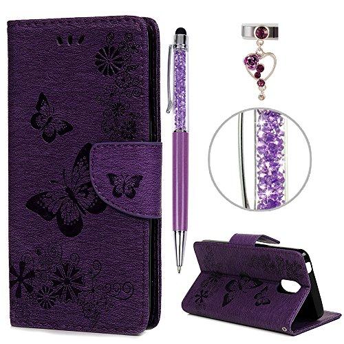 iAdvantec Wiko Lenny 5 Hülle Case, Filp PU Leder Wallet Handyhülle Flipcase : Bookstyle Schmetterlingsprägung Tasche Brieftasche Schutzhülle in Lila + Anti Staub Stöpsel + Stylus