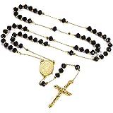 Faithheart - Rosario con perline, rito cattolico, per donna e uomo, collana extra lunga