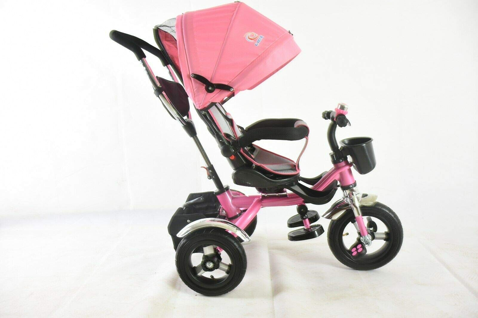 Trike Tricycle Stroller Buggy Wheel Ride Push Rain Cover Rubber Tyres 4 in 1 System (Pink) Generic Removable Leg rest for kids to feet up. Adjustable and removable parent handle or control bar. Plastic seat with removable padded cushion and lap seat belt to keep your child safe. 2