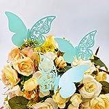 JZK® 50 x Pearly papillon bleu numéro de table d'espace réservé aux détenteurs de place faveurs pour les marques de graduation de Noël marques de communion de baptême de naissance d'anniversaire de mariage de fête espaces réservés lieux de la tasse