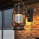 Baredury Vintage Antique Bar Cafe Tè Scala Pensile Corsia Lampada Creativo Kerosene Lampada Lanterna,Bronzo Rosso