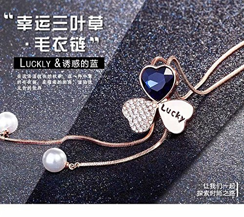 elistelle Frauen Zirkonia Blume Lange Verstellbare Kette Anhänger Pullover Halskette