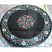 91,4x 91,4cm Nero Semi Preziosa Pietra inserto Tavolino Divano Tavolo da pranzo casa ufficio Decor forma rotonda marmo tavolo