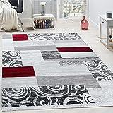 Paco Home Designer Teppich Wohnzimmer Inneneinrichtung Floral Muster Meliert Hell Grau Rot, Grösse:120x170 cm
