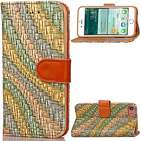 iPhone 7 Plus Custodia in Pelle,iPhone 7 Plus Cover Portafoglio,Cozy Hut Vintage Elegante Semplice rainbow Disegni Leather / PU Flip Wallet Libro Bookstyle Con Chiusura Magnetica Slim Sottile Shockproof / Anti Resistenza Protettiva Supporto Case Cover Bumper per Apple iPhone 7 Plus - beige