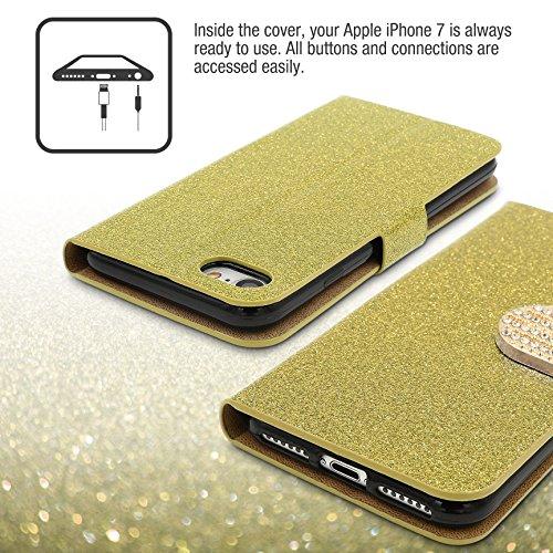 Urcover® Bling Glitzer Apple iPhone 7 Wallet   Handy Schutz-Hülle in Gold   Kartenfach & Standfunktion   Flip-Cover mit Magnet-Verschluss   Kunststoff Glitzer Case mit Strass-Steinen   Smartphone Zubh Gold