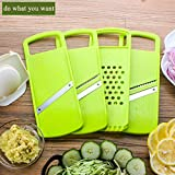 from baban Baban Multi-Function Food Cutter, Mandoline Vegetable Slicer/Shredder, Fruit and Cheese Cutter, 3 Interchangeable Blades + Food Container + Wave-Slicer&Press Crusher + Hand Protector + Blade Storage Box